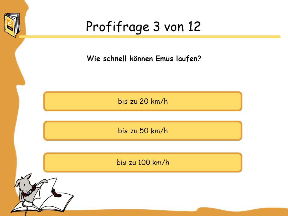 bis zu 20 km/h bis zu 50 km/h bis zu 100 km/h Profifrage 3 von 12 Wie schnell können Emus laufen