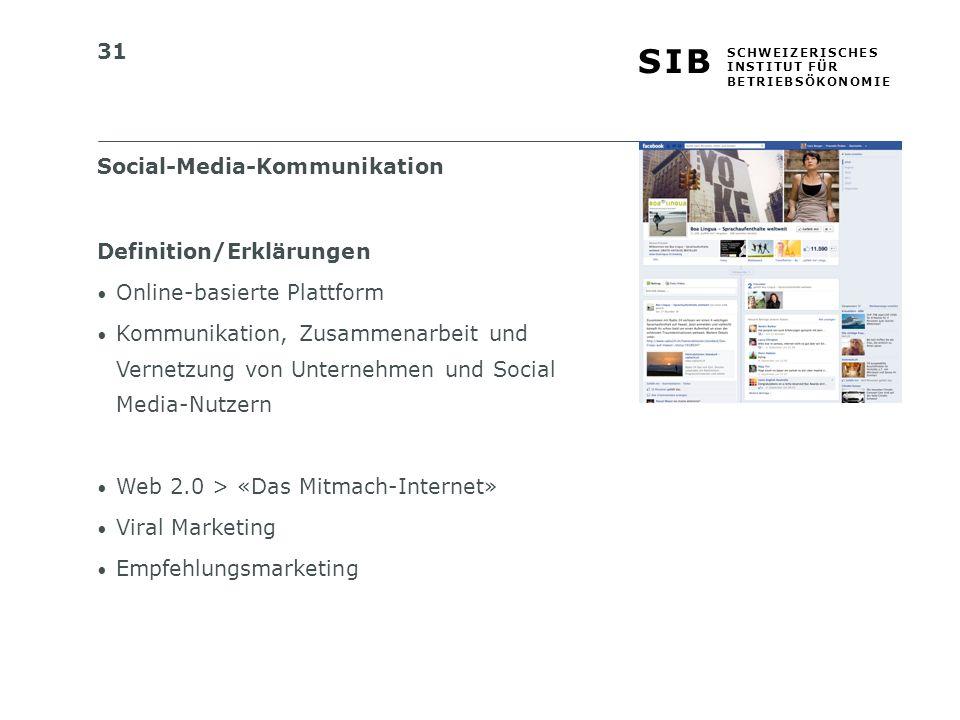 31 S I BS I B S C H W E I Z E R I S C H E S I N S T I T U T F Ü R B E T R I E B S Ö K O N O M I E Social-Media-Kommunikation Definition/Erklärungen Online-basierte Plattform Kommunikation, Zusammenarbeit und Vernetzung von Unternehmen und Social Media-Nutzern Web 2.0 > «Das Mitmach-Internet» Viral Marketing Empfehlungsmarketing
