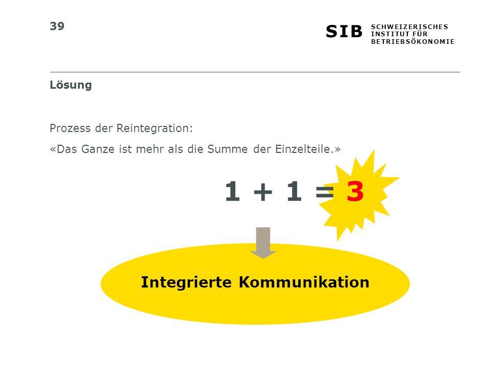 39 S I BS I B S C H W E I Z E R I S C H E S I N S T I T U T F Ü R B E T R I E B S Ö K O N O M I E Lösung Integrierte Kommunikation Prozess der Reintegration: «Das Ganze ist mehr als die Summe der Einzelteile.» 1 + 1 = 3