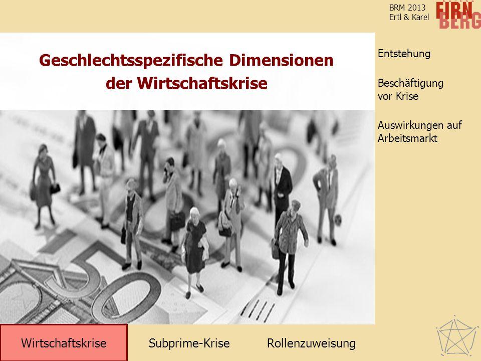 Subprime-KriseRollenzuweisung Wirtschaftskrise Entstehung Auswirkungen auf Arbeitsmarkt Beschäftigung vor Krise BRM 2013 Ertl & Karel Geschlechtsspezifische Dimensionen der Wirtschaftskrise Wirtschaftskrise