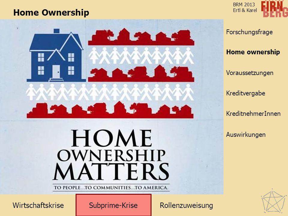 RollenzuweisungWirtschaftskrise Subprime-Krise Kreditvergabe KreditnehmerInnen Voraussetzungen Home ownership Forschungsfrage Auswirkungen BRM 2013 Ertl & Karel Home Ownership Home ownership Subprime-Krise