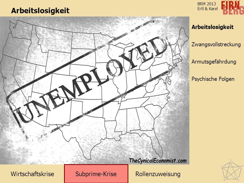 WirtschaftskriseRollenzuweisung Subprime-Krise Zwangsvollstreckung Arbeitslosigkeit Armutsgefährdung Psychische Folgen BRM 2013 Ertl & Karel Arbeitslosigkeit Subprime-Krise Arbeitslosigkeit