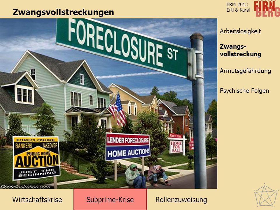 WirtschaftskriseRollenzuweisung Subprime-Krise Zwangsvollstreckung Arbeitslosigkeit Armutsgefährdung Psychische Folgen BRM 2013 Ertl & Karel Zwangsvol