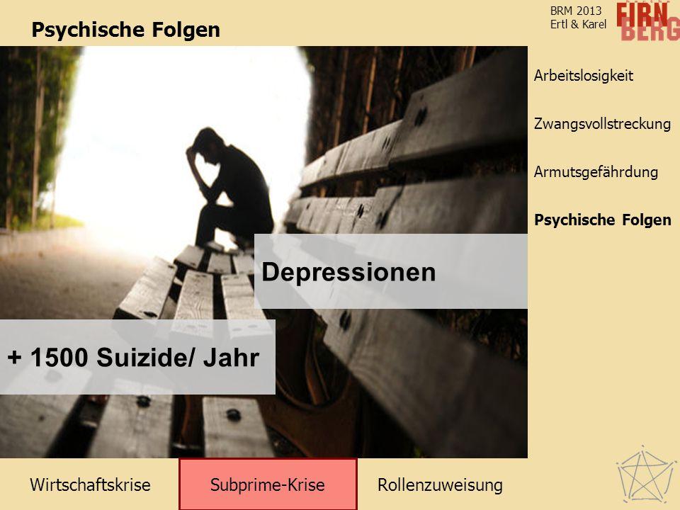 WirtschaftskriseRollenzuweisung Subprime-Krise Zwangsvollstreckung Arbeitslosigkeit Armutsgefährdung Psychische Folgen BRM 2013 Ertl & Karel Psychisch