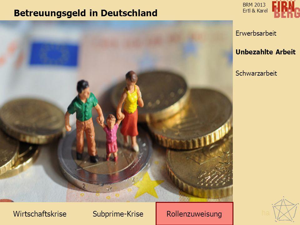 Subprime-Krise Rollenzuweisung Schwarzarbeit Unbezahlte Arbeit Erwerbsarbeit Wirtschaftskrise BRM 2013 Ertl & Karel Betreuungsgeld in Deutschland Roll