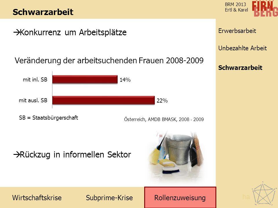 Subprime-Krise Rollenzuweisung Schwarzarbeit Unbezahlte Arbeit Erwerbsarbeit Wirtschaftskrise BRM 2013 Ertl & Karel Schwarzarbeit Rollenzuweisung ha 