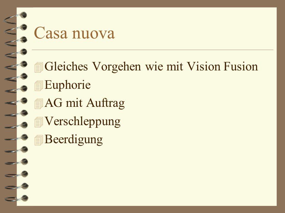 Casa nuova 4 Gleiches Vorgehen wie mit Vision Fusion 4 Euphorie 4 AG mit Auftrag 4 Verschleppung 4 Beerdigung