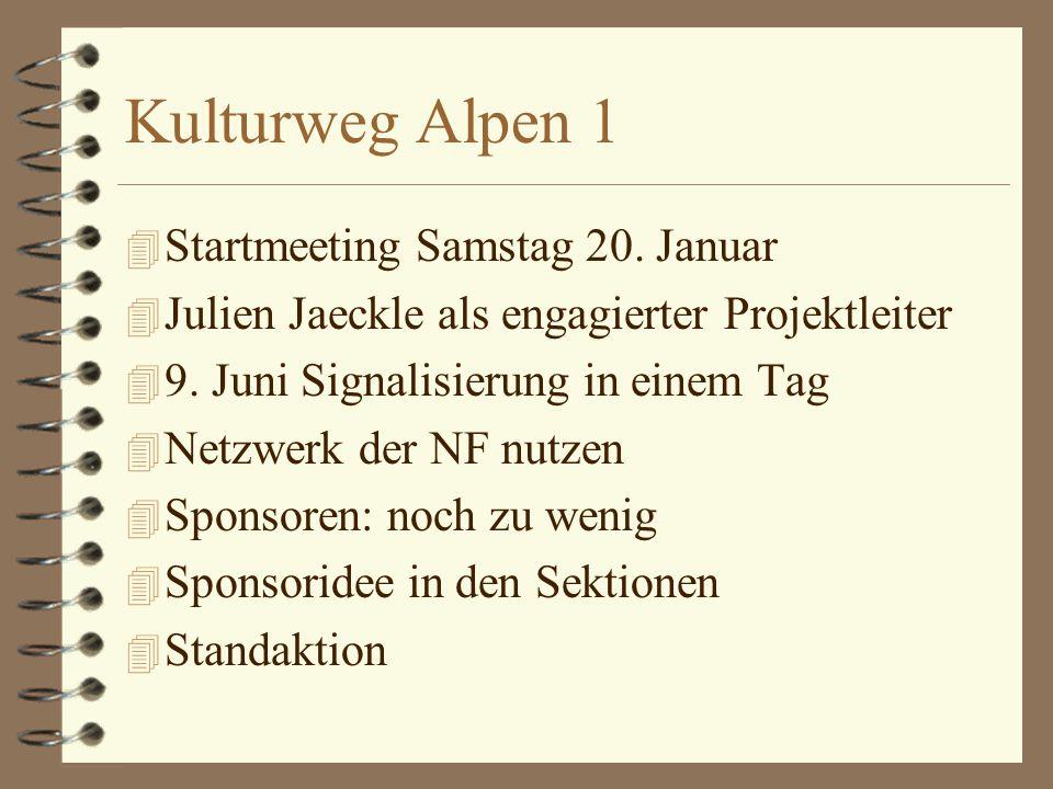 Kulturweg Alpen 1 4 Startmeeting Samstag 20.