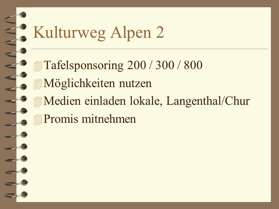 Kulturweg Alpen 2 4 Tafelsponsoring 200 / 300 / 800 4 Möglichkeiten nutzen 4 Medien einladen lokale, Langenthal/Chur 4 Promis mitnehmen