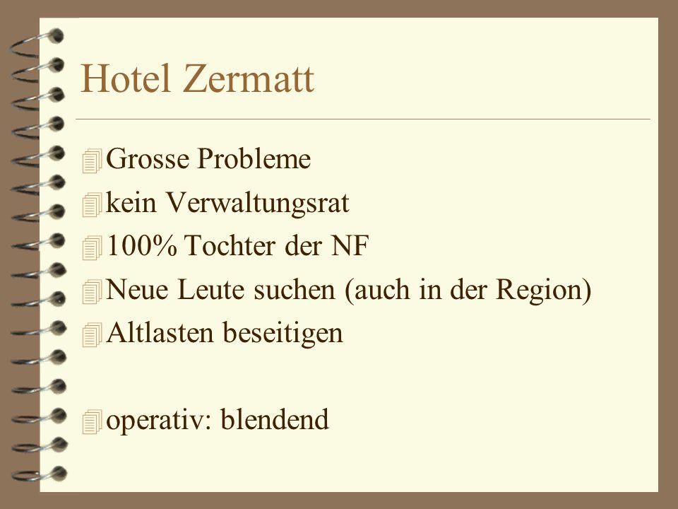 Hotel Zermatt 4 Grosse Probleme 4 kein Verwaltungsrat 4 100% Tochter der NF 4 Neue Leute suchen (auch in der Region) 4 Altlasten beseitigen 4 operativ: blendend