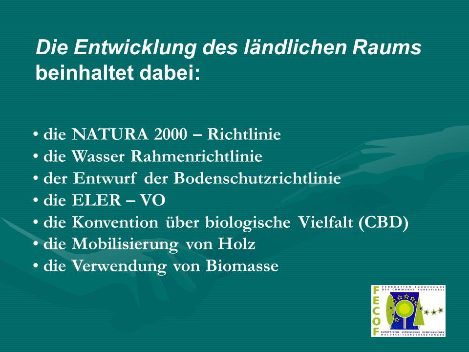 Die Entwicklung des ländlichen Raums beinhaltet dabei: die NATURA 2000 – Richtlinie die Wasser Rahmenrichtlinie der Entwurf der Bodenschutzrichtlinie die ELER – VO die Konvention über biologische Vielfalt (CBD) die Mobilisierung von Holz die Verwendung von Biomasse