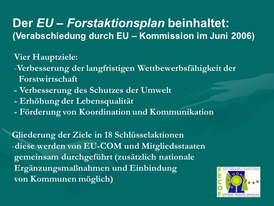 Der EU – Forstaktionsplan beinhaltet: (Verabschiedung durch EU – Kommission im Juni 2006) Vier Hauptziele: -V-Verbesserung der langfristigen Wettbewerbsfähigkeit der Forstwirtschaft - Verbesserung des Schutzes der Umwelt - Erhöhung der Lebensqualität - Förderung von Koordination und Kommunikation Gliederung der Ziele in 18 Schlüsselaktionen -diese werden von EU-COM und Mitgliedsstaaten gemeinsam durchgeführt (zusätzlich nationale Ergänzungsmaßnahmen und Einbindung von Kommunen möglich)