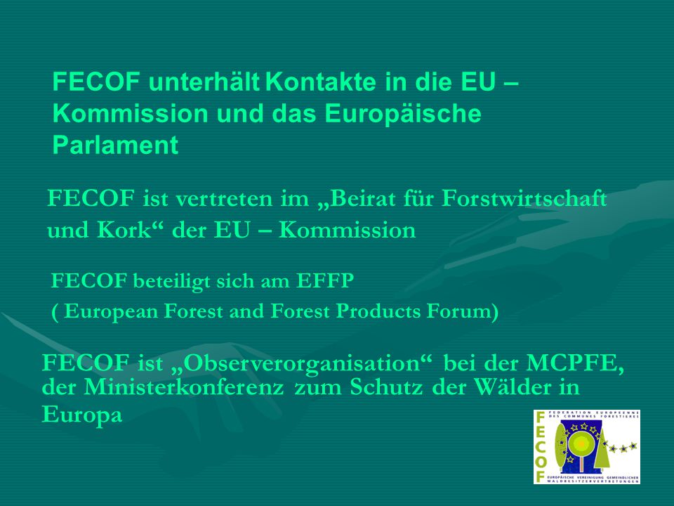 """Grundlegend für die Position der FECOF ist die EUROPÄISCHE CHARTA DES GEMEINDEWALDES von 1992 : unter Beachtung der ökonomischen, ökologischen und sozialen Funktionen des Waldes ist das Ziel kommunaler Forstpolitik: die Zunahme der Waldflächen, die Verbesserung der vorhandenen Wälder, die Erhöhung der Forstproduktion und die Entwicklung der Holzverwertung zur Verminderung der Abhängigkeit Europas von Drittländern im Forstbereich Weitere Grundsatzaussagen zu """"mediterraner Wald, Industrie- und Kulturwald, Stadtwaldproblematik, Forstliche Zertifizierung """""""