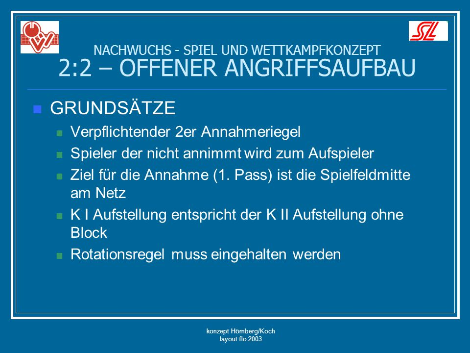 konzept Hömberg/Koch layout flo 2003 GRUNDSÄTZE Verpflichtender 2er Annahmeriegel Spieler der nicht annimmt wird zum Aufspieler Ziel für die Annahme (