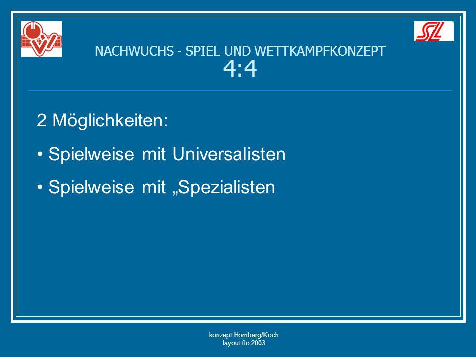 """konzept Hömberg/Koch layout flo 2003 NACHWUCHS - SPIEL UND WETTKAMPFKONZEPT 4:4 2 Möglichkeiten: Spielweise mit Universalisten Spielweise mit """"Spezial"""