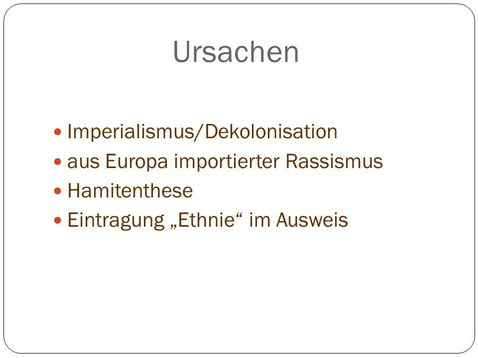 """Ursachen Imperialismus/Dekolonisation aus Europa importierter Rassismus Hamitenthese Eintragung """"Ethnie"""" im Ausweis"""