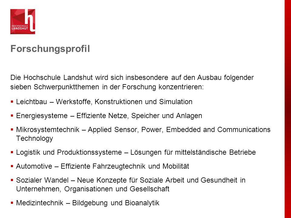 Forschungsprofil Die Hochschule Landshut wird sich insbesondere auf den Ausbau folgender sieben Schwerpunktthemen in der Forschung konzentrieren:  Le