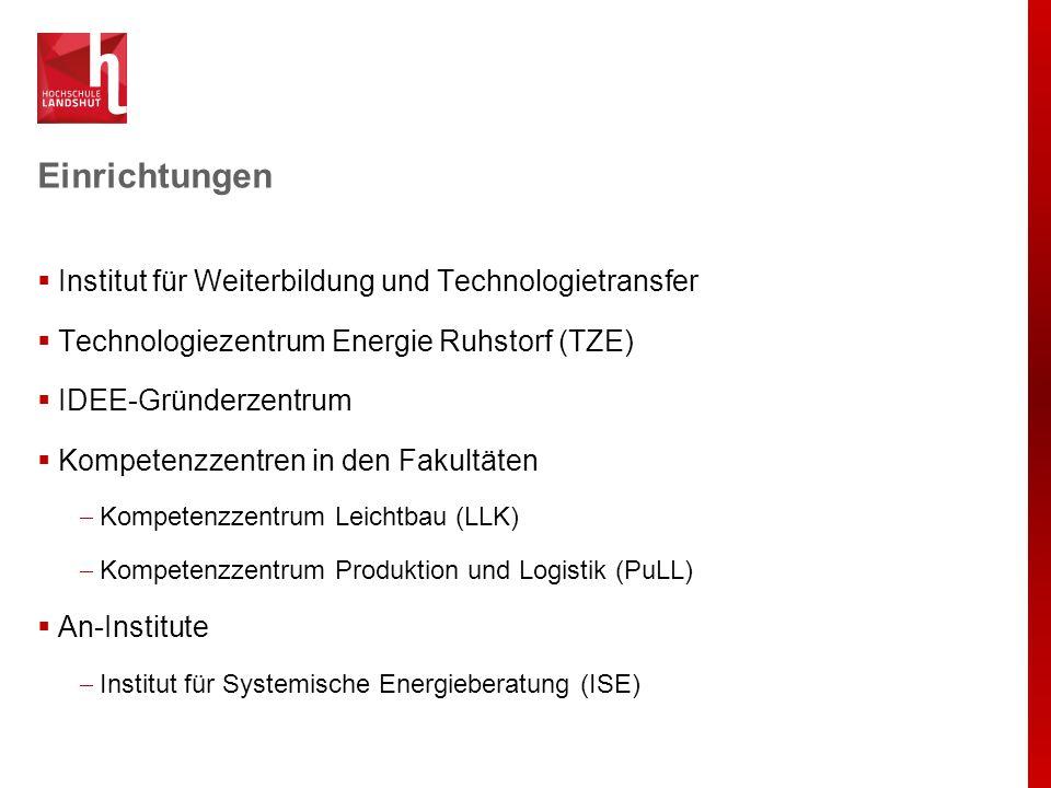 Einrichtungen  Institut für Weiterbildung und Technologietransfer  Technologiezentrum Energie Ruhstorf (TZE)  IDEE-Gründerzentrum  Kompetenzzentre