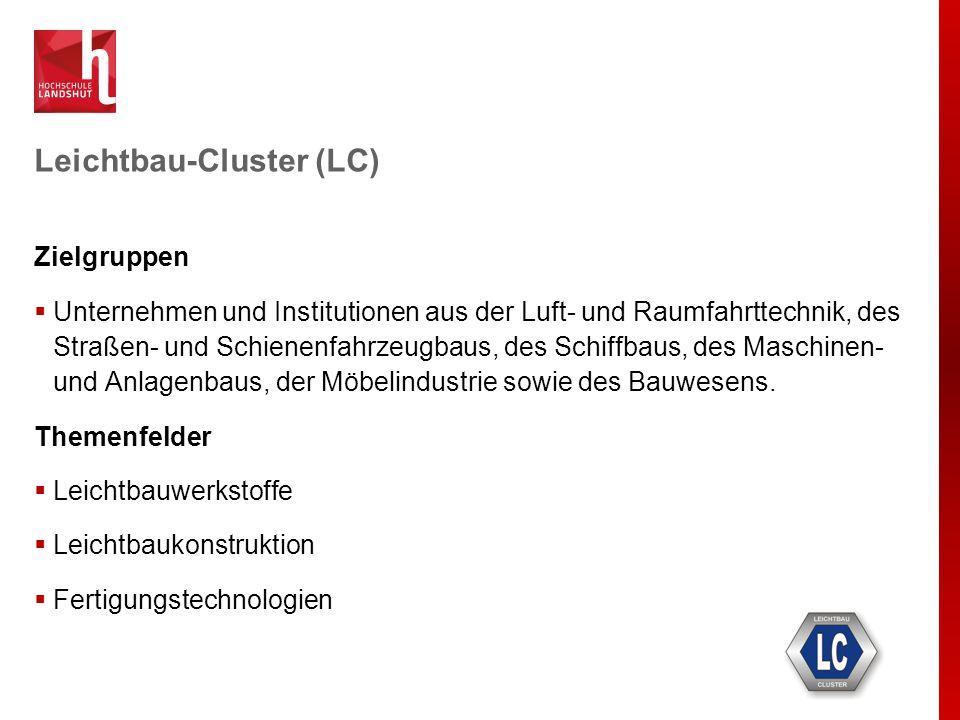 Leichtbau-Cluster (LC) Zielgruppen  Unternehmen und Institutionen aus der Luft- und Raumfahrttechnik, des Straßen- und Schienenfahrzeugbaus, des Schi