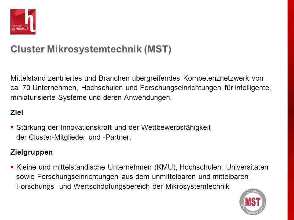 Cluster Mikrosystemtechnik (MST) Mittelstand zentriertes und Branchen übergreifendes Kompetenznetzwerk von ca. 70 Unternehmen, Hochschulen und Forschu
