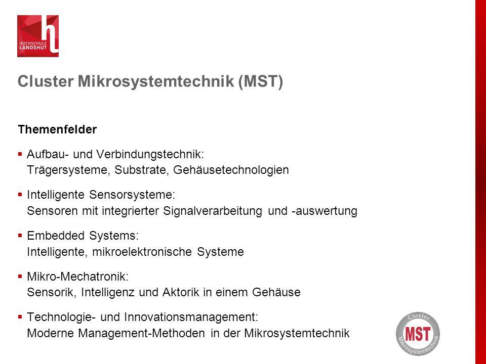 Cluster Mikrosystemtechnik (MST) Themenfelder  Aufbau- und Verbindungstechnik: Trägersysteme, Substrate, Gehäusetechnologien  Intelligente Sensorsys