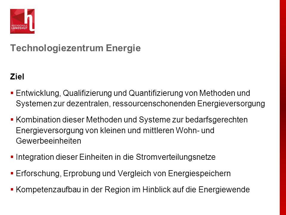 Technologiezentrum Energie Ziel  Entwicklung, Qualifizierung und Quantifizierung von Methoden und Systemen zur dezentralen, ressourcenschonenden Ener