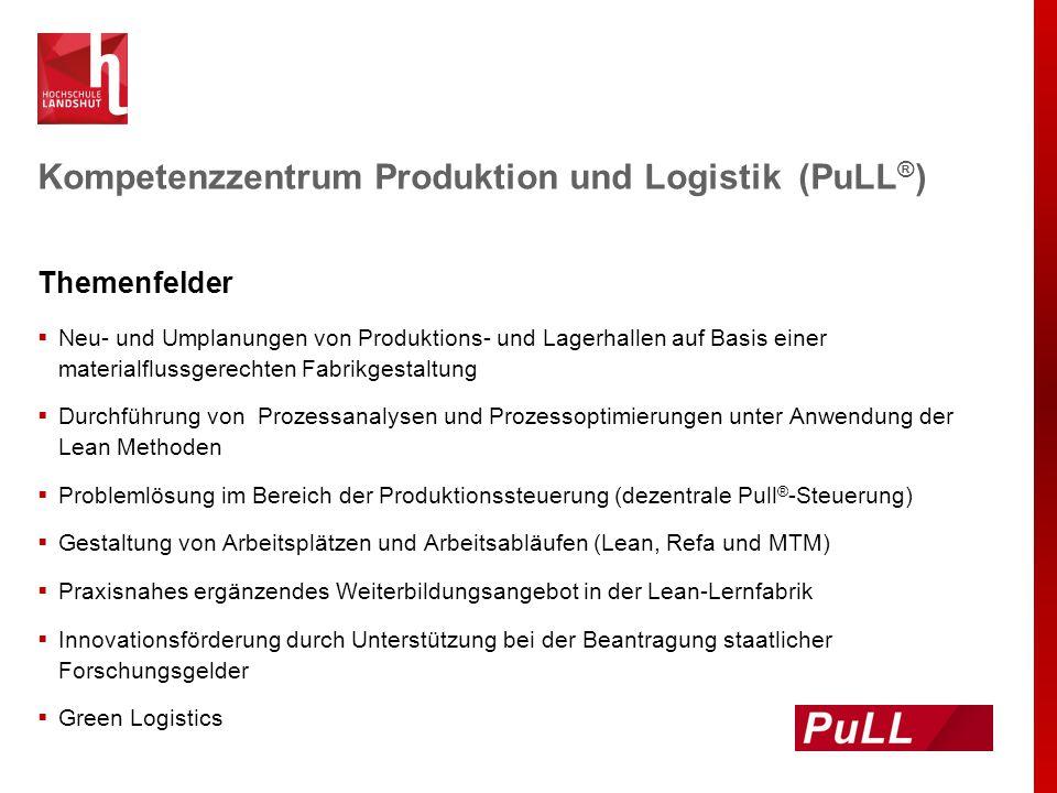 Kompetenzzentrum Produktion und Logistik (PuLL ® ) Themenfelder  Neu- und Umplanungen von Produktions- und Lagerhallen auf Basis einer materialflussg