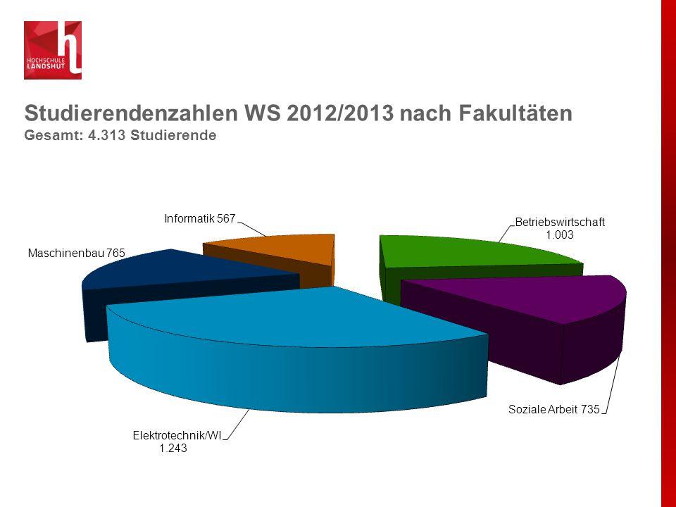 Studierendenzahlen WS 2012/2013 nach Fakultäten Gesamt: 4.313 Studierende
