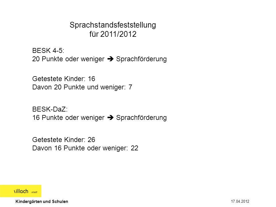 Kindergärten und Schulen 17.04.2012 Aufteilung der Sprachförderung in Gruppen