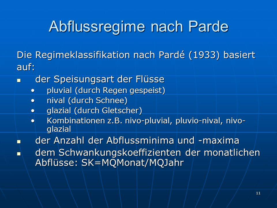 11 Abflussregime nach Parde Die Regimeklassifikation nach Pardé (1933) basiert auf: der Speisungsart der Flüsse der Speisungsart der Flüsse pluvial (d