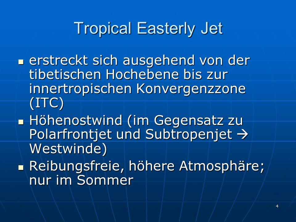 4 Tropical Easterly Jet erstreckt sich ausgehend von der tibetischen Hochebene bis zur innertropischen Konvergenzzone (ITC) erstreckt sich ausgehend v