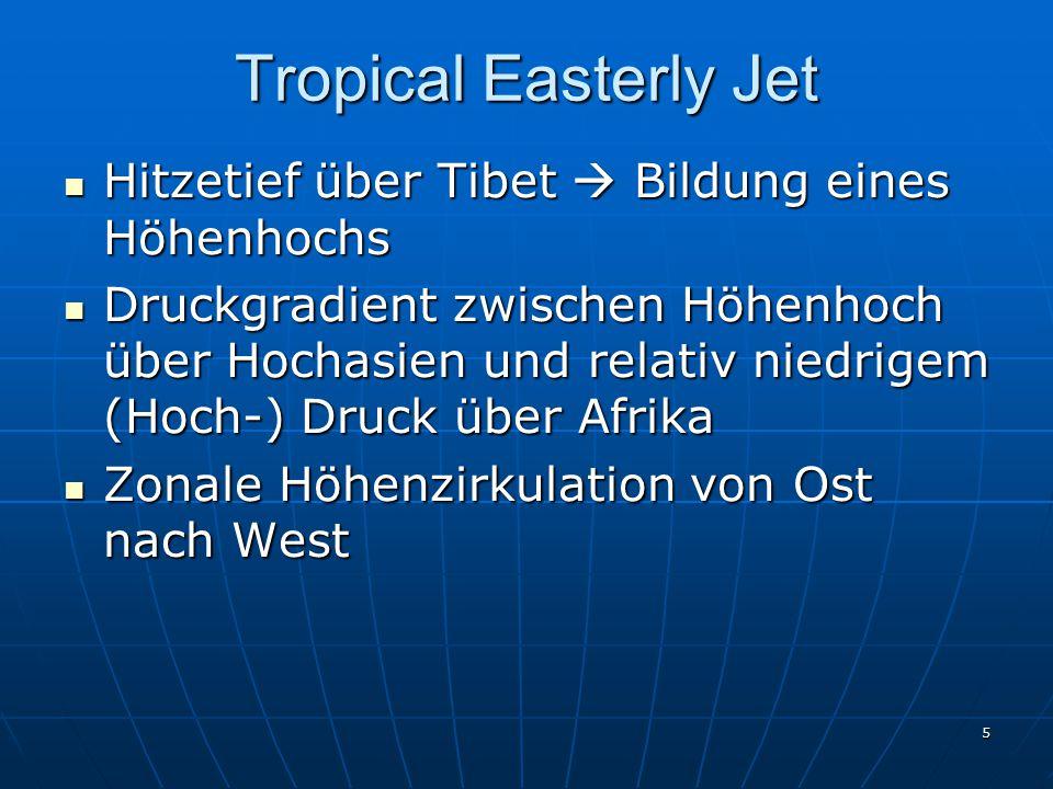 5 Tropical Easterly Jet Hitzetief über Tibet  Bildung eines Höhenhochs Hitzetief über Tibet  Bildung eines Höhenhochs Druckgradient zwischen Höhenho