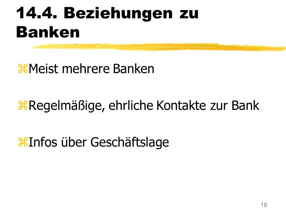 10 14.4. Beziehungen zu Banken zMeist mehrere Banken zRegelmäßige, ehrliche Kontakte zur Bank zInfos über Geschäftslage
