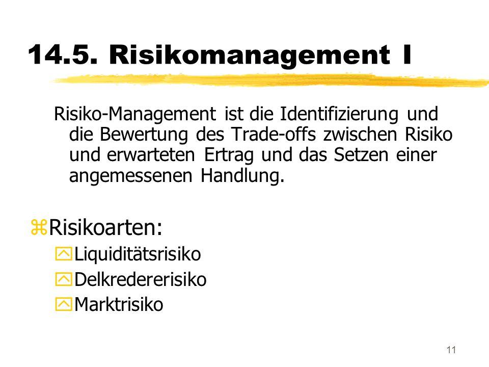 11 14.5. Risikomanagement I Risiko-Management ist die Identifizierung und die Bewertung des Trade-offs zwischen Risiko und erwarteten Ertrag und das S
