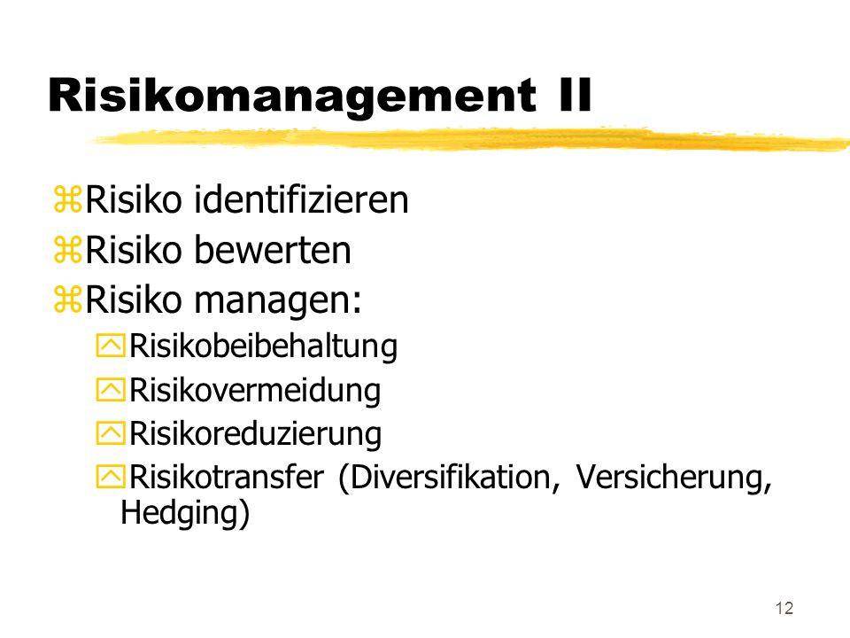 12 Risikomanagement II zRisiko identifizieren zRisiko bewerten zRisiko managen: yRisikobeibehaltung yRisikovermeidung yRisikoreduzierung yRisikotransf