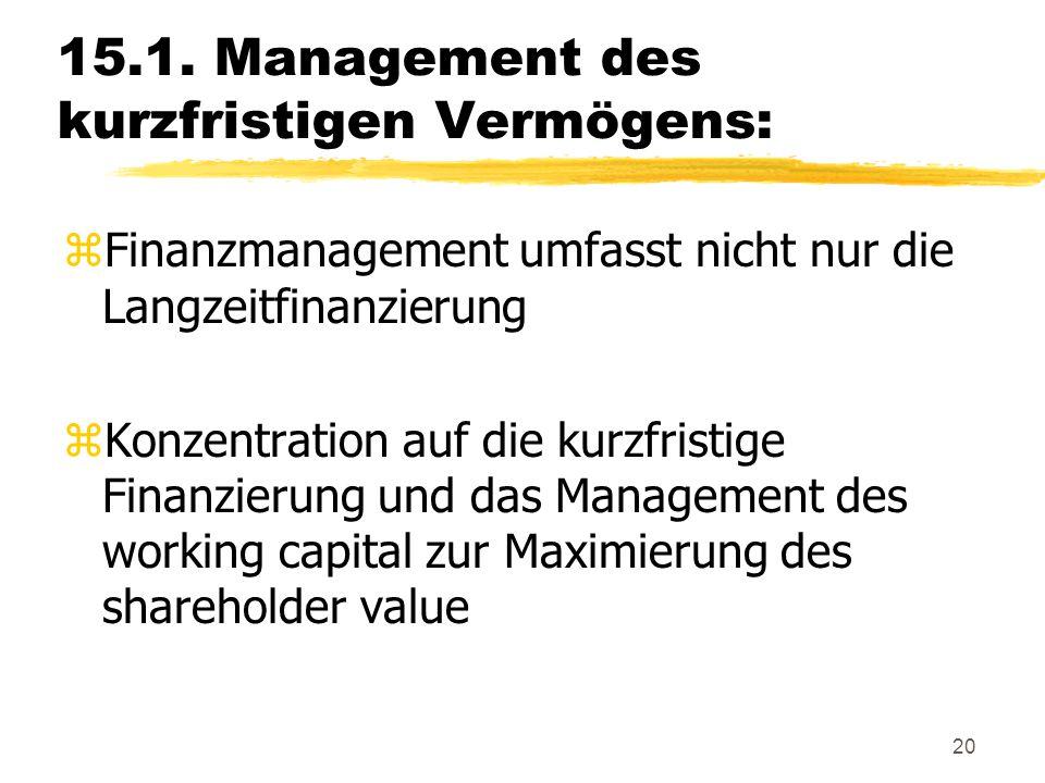 20 15.1. Management des kurzfristigen Vermögens: zFinanzmanagement umfasst nicht nur die Langzeitfinanzierung zKonzentration auf die kurzfristige Fina