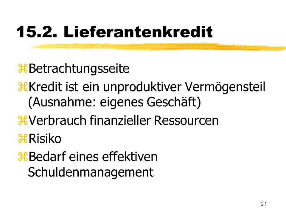 21 15.2. Lieferantenkredit zBetrachtungsseite zKredit ist ein unproduktiver Vermögensteil (Ausnahme: eigenes Geschäft) zVerbrauch finanzieller Ressour