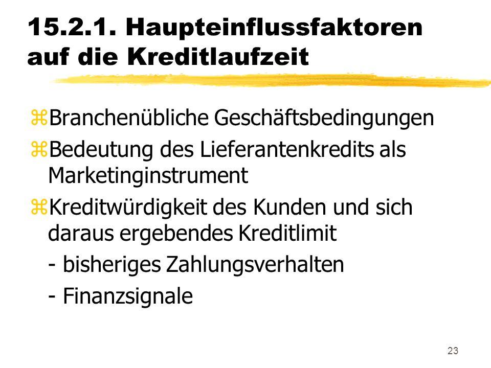23 15.2.1. Haupteinflussfaktoren auf die Kreditlaufzeit zBranchenübliche Geschäftsbedingungen zBedeutung des Lieferantenkredits als Marketinginstrumen