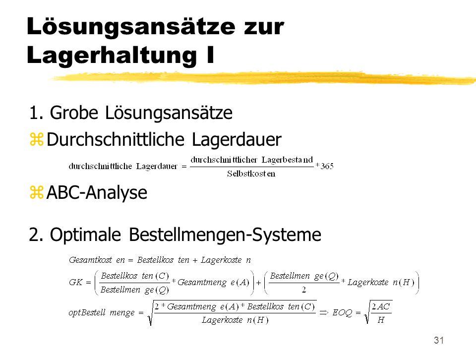 31 Lösungsansätze zur Lagerhaltung I 1. Grobe Lösungsansätze zDurchschnittliche Lagerdauer zABC-Analyse 2. Optimale Bestellmengen-Systeme