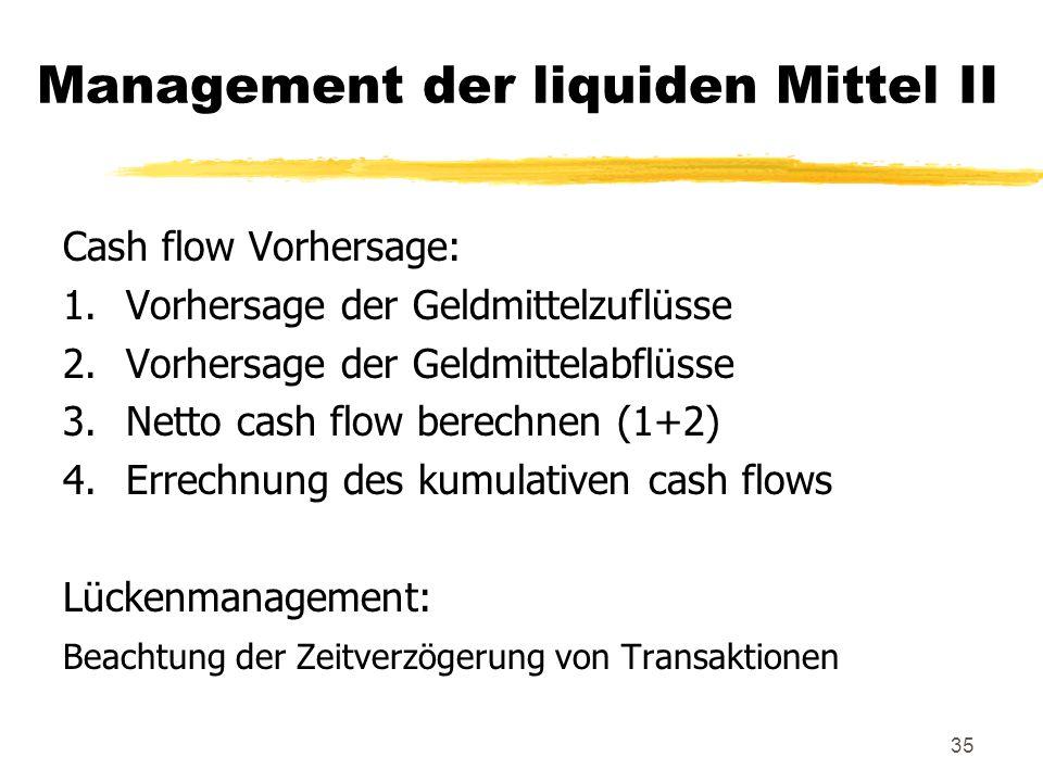 35 Management der liquiden Mittel II Cash flow Vorhersage: 1.Vorhersage der Geldmittelzuflüsse 2.Vorhersage der Geldmittelabflüsse 3.Netto cash flow b