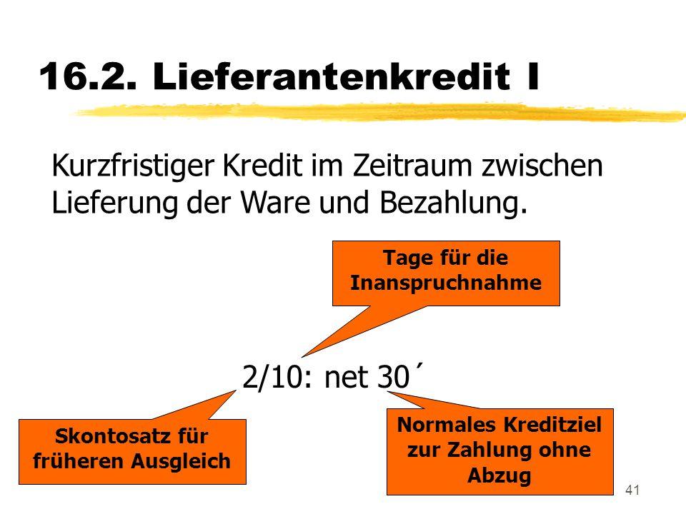 41 16.2. Lieferantenkredit I Kurzfristiger Kredit im Zeitraum zwischen Lieferung der Ware und Bezahlung. 2/10: net 30´ Skontosatz für früheren Ausglei
