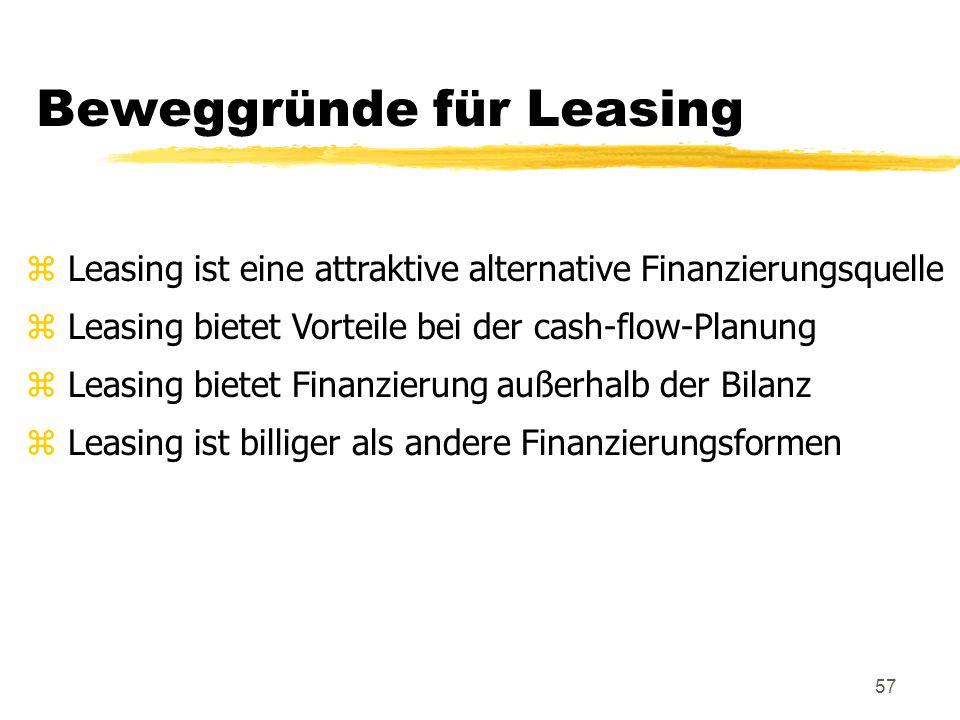 57 Beweggründe für Leasing z Leasing ist eine attraktive alternative Finanzierungsquelle z Leasing bietet Vorteile bei der cash-flow-Planung z Leasing