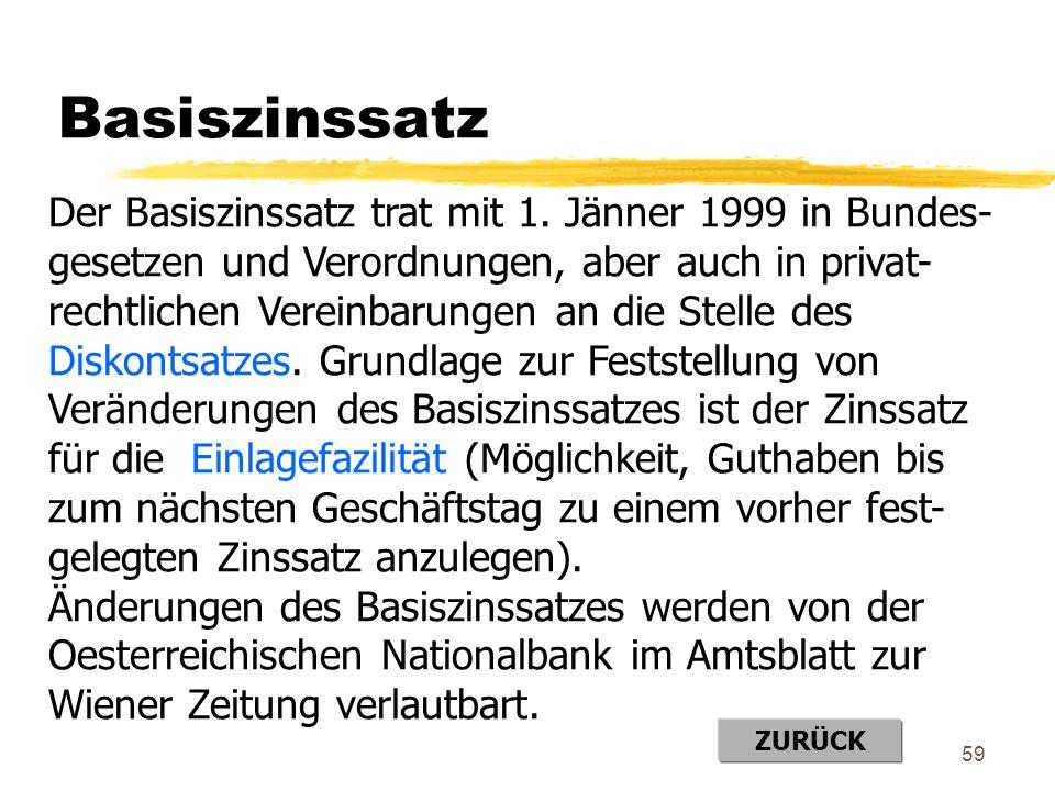 59 Basiszinssatz Der Basiszinssatz trat mit 1. Jänner 1999 in Bundes- gesetzen und Verordnungen, aber auch in privat- rechtlichen Vereinbarungen an di