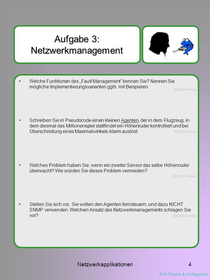 """© M. Fischer & G.Magschok Netzwerkapplikationen4 Aufgabe 3: Netzwerkmanagement Welche Funktionen des """"Fault Management"""" kennen Sie? Nennen Sie möglich"""