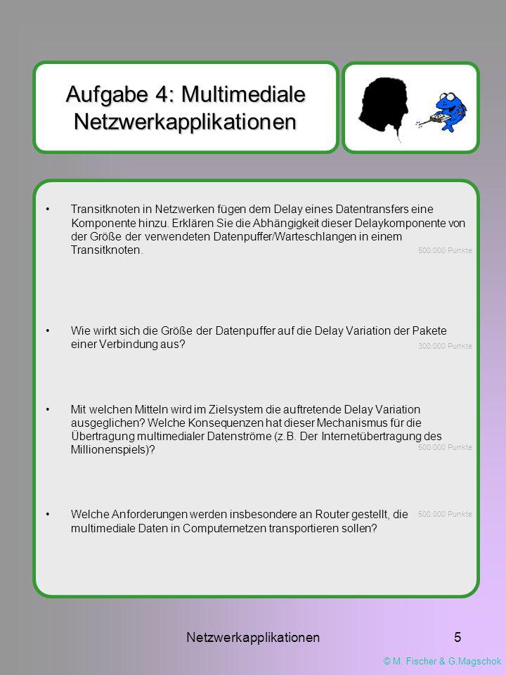 © M. Fischer & G.Magschok Netzwerkapplikationen5 Aufgabe 4: Multimediale Netzwerkapplikationen Transitknoten in Netzwerken fügen dem Delay eines Daten
