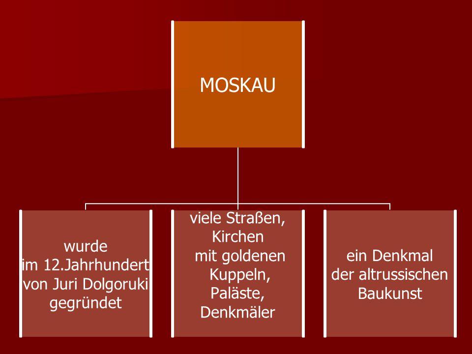 MOSKAU wurde im 12.Jahrhundert von Juri Dolgoruki gegründet viele Straßen, Kirchen mit goldenen Kuppeln, Paläste, Denkmäler ein Denkmal der altrussisc