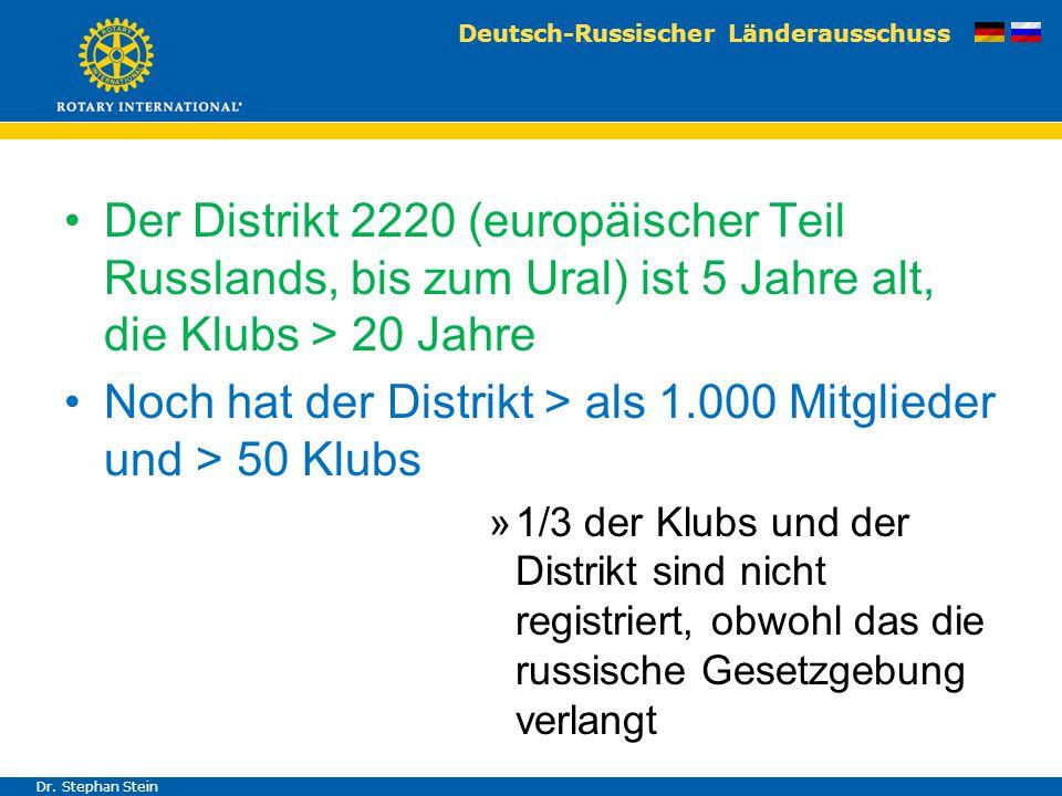 Deutsch-Russischer Länderausschuss Dr. Stephan Stein Der Distrikt 2220 (europäischer Teil Russlands, bis zum Ural) ist 5 Jahre alt, die Klubs > 20 Jah