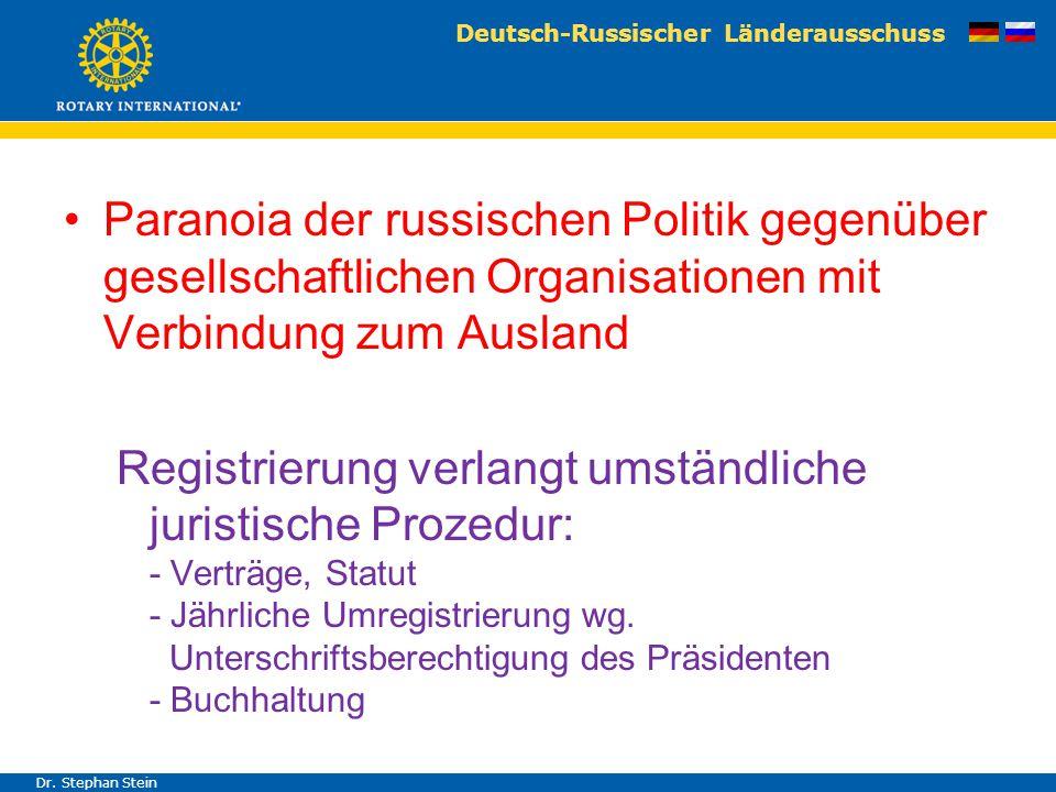 Deutsch-Russischer Länderausschuss Dr. Stephan Stein Paranoia der russischen Politik gegenüber gesellschaftlichen Organisationen mit Verbindung zum Au