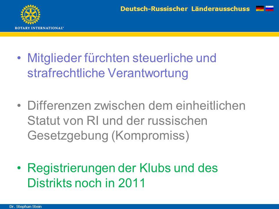 Deutsch-Russischer Länderausschuss Dr. Stephan Stein Mitglieder fürchten steuerliche und strafrechtliche Verantwortung Differenzen zwischen dem einhei