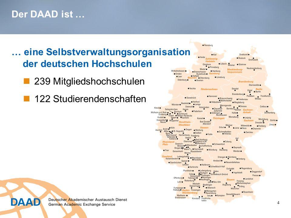 Der DAAD ist … 4 … eine Selbstverwaltungsorganisation der deutschen Hochschulen 239 Mitgliedshochschulen 122 Studierendenschaften